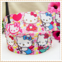 1'' (25mm) hello kitty Printed grosgrain ribbon, butterfly accessories, DIY materials,XW32317