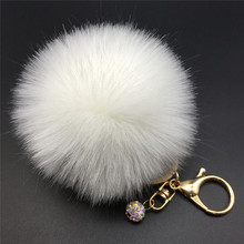 12 Colors 8cm Handbag Bunny Cute Bag Rhinestone Blank Fluffy Rabbit Fur Pom Pom Ball Keychain To Locate Keys Stylish Fashion(China)