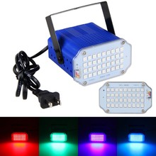 36W RGB LED Stage Light 36pcs 5050 AC100-240V Mini Sound Control Stage Lights Strobe Spotlight for Holiday Disco Party DJ Light(China)
