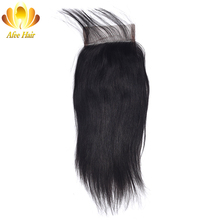 Ali Afee Hair Brazilian Straight Lace Closure Natural Color 4*4 Swiss Lace Closure Non-remy Hair Middle Part 130% Density(China)