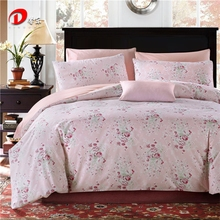 Floral Satin Bed Set Luxury Egyptian Cotton Bed Set King Queen Size High Quality Pink Bed Linen Duvet Cover Set Z19(China)