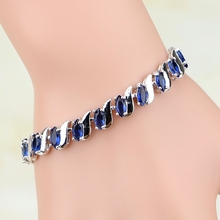 Mystic Blue Zircon White CZ Women 925 Sterling Silver Jewelry Charm Bracelets Free Gifts Box&Free Shipping(China)