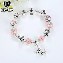 BISAER New Collection Silver Color Cute Dog Pink Flower Best Wishes Original Charms Bracelets For Women DIY Fashion Jewelry