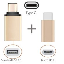 2 in 1 Type C to USB OTG Adaptor + Type-C to Micro USB Adapter For Huawei Mate 9 Pro P9 mobile phone accessories Champagne Gold