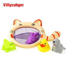 5pcs/Set Fishing Toy Network Bag Pick up Duck & Shark & Crocodile & Sea lion Kid Toy Swimming Classes Summer Play Water Bath Toy(China)