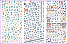 3 PACK/ LOT WATER  DECAL NAIL ART NAIL STICKER FLOWER USA FLAG HELMET LIBERTY STATUE YE354-356