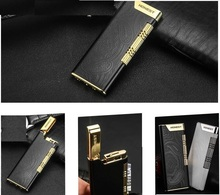 windproof tobacco smoking metal lighter high-end fire refillable butane gas lighter black white noble novelty cigarette lighters(China)