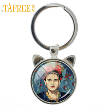 TAFREE Retro Frida Kahlo self-portrait keychian Rhodium Plated charm for women key chain Vintage Handmade novelty jewelry A272