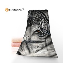 New Custom Tiger Cool Animals Towel Printed Cotton Face/Bath Towels Microfiber Fabric For Kids Men Women Shower Towels A8.8(China)