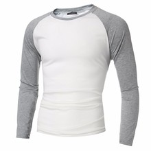 INCERUN 2017 Mens Long Sleeve T shirts Cotton Casual Slim Fit Crew Round neck Raglan Baseball Tee Tops Stretch Muscle S-4XL(China)