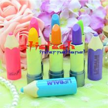 by ems or dhl 500pcs High Quality Fantastic Crayons Funky Unisex Pencil Shaped Solid Moisturizer stick Lip Balm Wholesale(China)
