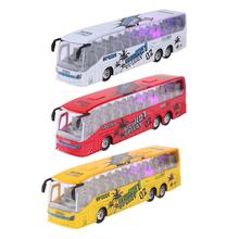 1:50 Scale 19cm small Pull Back Music Bus Metal Diecast Model Children's Vehicle Motor Auto Cars Toys LED Light Gift for Boys(China)