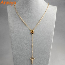 Anniyo Bead Jesus Long Necklaces Pendants Charm Cross for Women Gold Color Christian Crucifix Rosary Necklaces Jewelry #044304