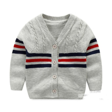100% Cotton Baby Sweater Stripe V-neck Button Cardigan British Leisure Toddler Baby Boys Knitted Sweaters 2017 Spring Autumn(China)