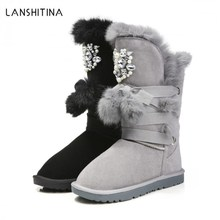 2017 Women Winter Boots Genuine Leather Rabbit Fur Snow Boots Female Rhinestone High Snow Boots For Women Tassels Flats Shoes(China)