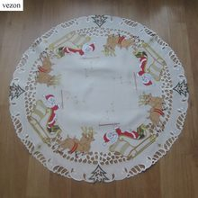 vezon Sale Christmas Embroidery Table Topper Polyester Embroidered Xmas Satin Table Runner Cloth Covers Santa Claus Deer Overlay(China)