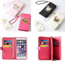 For iphone 6 6S 7 4.7' Luxury mirror hello Kitty wallet PU leather flip stent many card slot case For iphone 6 6S 7 plus 5.5'