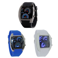 Kimisohand Fashion Aviation Turbo Dial Flash LED Watch Gift Mens Lady Sports Car Meter