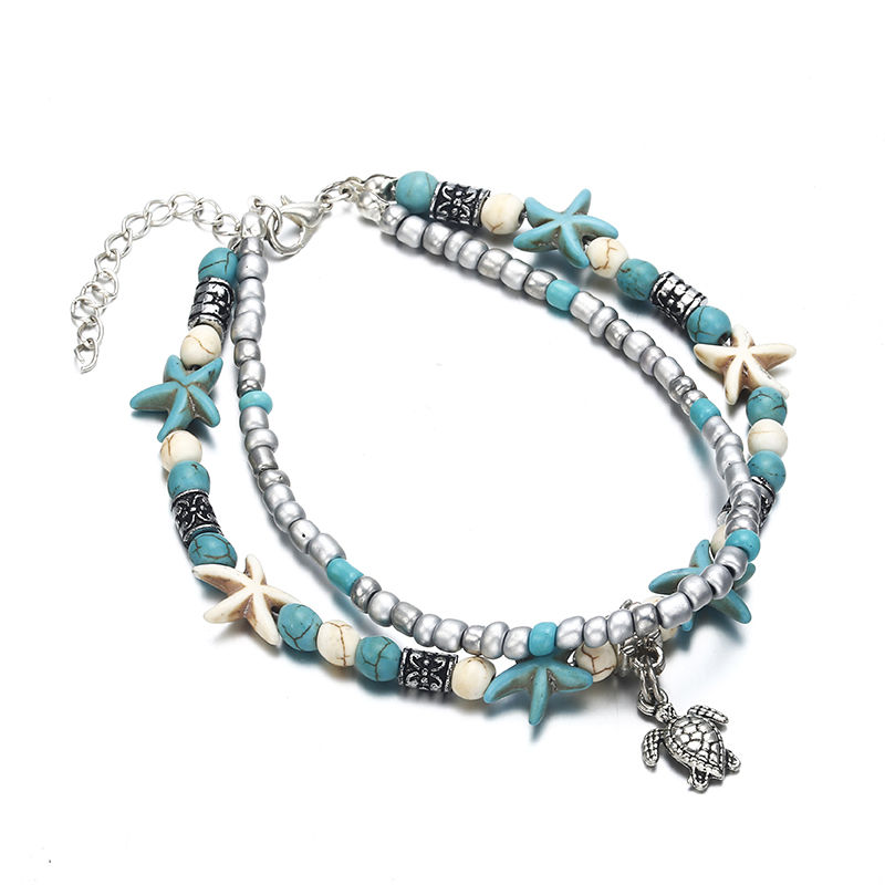 Bohemian style layered Starfish ankle beads chain anklet vintage sea turtle anklet beach Shell Charm Bracelet Boho jewelry ns15 3