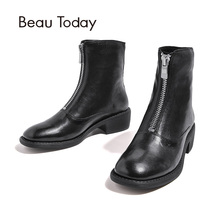 BeauToday Women Boots Front Zipper Brand Genuine Leather Waxed Sheepskin Quality Boot Med Heel Lady Shoes Handmade 03246(China)