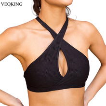 VEQKING Cut Out Push Up Sports Bra Top Women Halter Strappy Brassiere Fitness Bras Jogging Running Gym Yoga Sport Top