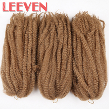 Leeven 18'' Synthetic Crochet Hair  Afro Kinky Twist Braids Hair  Extension DIY For Black Women Braiding Hair Kanekalon 4pcs/lot