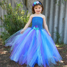 2017 Purple Blue Peacock Tutu Dress for Girls Kids Festival Holiday Party Pageant Ball Gown Flower Girl Dresses Vestido Infantil(China)