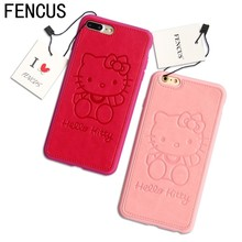 High Quality PU Leather cute Hello kitty Lovers Case for iphone 7 7plus 6 6s 6plus TPU Silicone Phone Case Back Cover Bags(China)