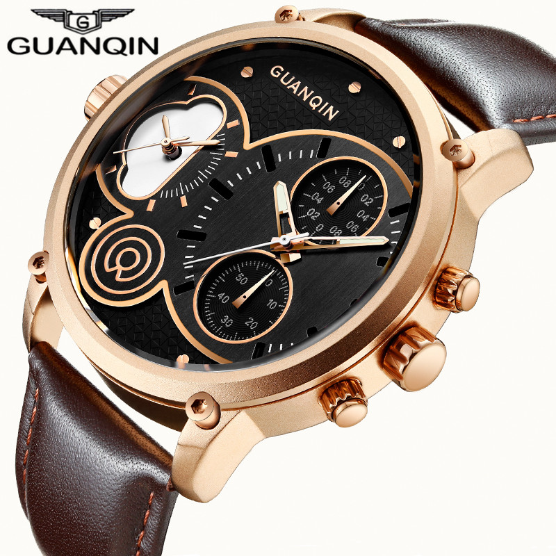 GUANQIN Famous Brand Luxury Military Sport Watches Men Casual Chronograph Luminous Hands Leather Strap Waterproof Quartz Watch<br>