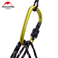 4Pcs NatureHike 6cm D Shape Aluminum Alloy Hiking Climb Carabiner Hook Mountaineering Carabiner Climbing Hooks Buckles With Lock