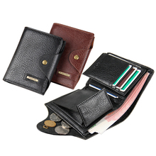 Fashion New Style Coin Pocket Men Wallets Patent Leather Business Casual Vertical Cross Multi Functional Hasp Card Holder Wallet(China)