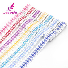 Lucia Crafts 2y/lot 1.5cm Trim Lace Scottish Plaid Ribbons Christmas DIY Headdress Sewing Wrapping Handmade Decoration 040051023(China)