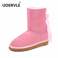 UOERVLE NEW Brand Women Snow Boots Suede Sheepskin Fur Bow Australia boots Women Warm Butterfly-Knot Winter  Shoes UO8621