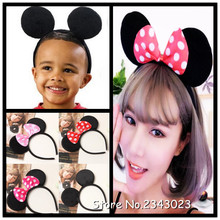 10pcs/lot Kids Hair Accessories Mickey Minnie Mouse Ears Headbands Birthday party Decoration Boys Girls headband Party Supplies