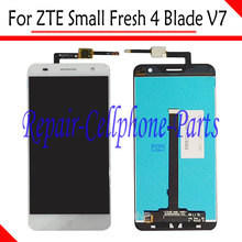 White 100% New Full LCD DIsplay+Touch Screen Digitizer Assembly Replacement For ZTE Small Fresh 4 Blade V7 LTE Free shipping(China)