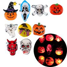Fashion Flash LED Electronic Flash Brooch Luminous Badge Halloween Accessories Pumpkin Ghost Skull Witch Kids Party Supplies
