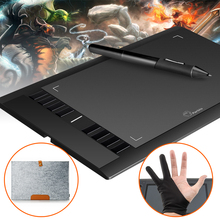 "Parblo A610 10x6"" Art Graphics Drawing Pen Tablet tableta Grafica 5080LPI Painting Board +Wool Felt Liner Bag+Glove"