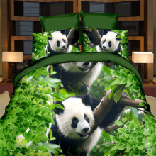 EsyDream Twin Size Kids Panda Bedding Sets No Quilt,4PC King Queen Size Green Tree Black White Panda 3D Oil Queen Duvet Cover