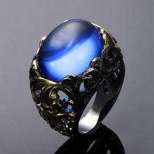 Bright Big Royal Blue Oval stone Black Gold-color Trendy jewelry for party Best gift for women Grand Cocktail Pattern Rings(Hong Kong,China)
