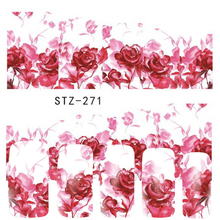 1 Sheets Women Pretty Pink Rose Flower Decals Stickers DIY Water Transfer Tattoos Nail Art Full Sticker STZ271
