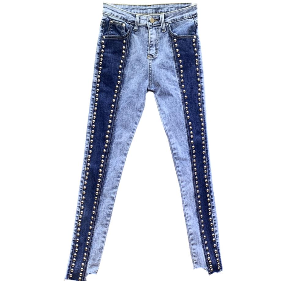 2019 jeans women beaded rivets ankle length skinny pencil jeans