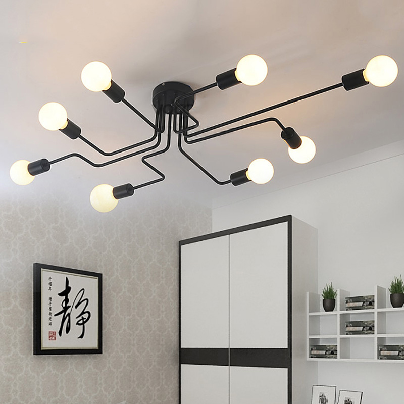 Vintage Ceiling Light Iron Multiple Rod Creative Retro Personality Luminaria Industrial Led Home Lighting Fixture Ceiling Lamp(China (Mainland))