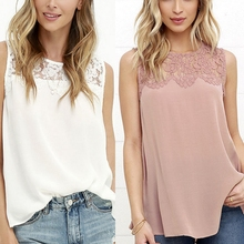 Buy Women Summer Vest Lace Chiffon Blouse Tops Fashion Chemise Shirts Sleeveless Tank Tops for $3.78 in AliExpress store