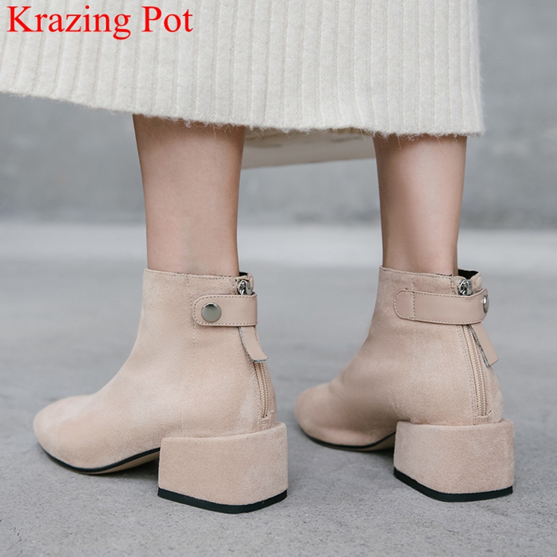 2020 new arrival comfortable zipper round toe high heels women ankle boots runway sweet fashion boots keep warm winter shoes L02