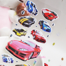 2017 New Arrival Fashion Cartoon Roadst Sticker For Children Kids Toys Sports Car Pasted Bubble Small Stickers For Baby Eduional(China)