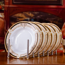6pcs/set American Dining Room Ceramic Tableware Jingdezhen Bone China Porcelain Dinnerware 8*inch Deep Soup Dishes Sushi Plates(China)