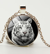 Tiger Necklace Nature  Pendant Jungle Wildlife Animal Jewelry Glass Cabochon Silver Bronze Color  Sweater Necklace for Lover