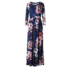 Buy BOHO Beach Dress Casual O Neck Floral Print Dresses Women Bohemian Long Maxi Dress Plus Size S-XXXL 2018 Fashion Pleated Robe for $14.03 in AliExpress store