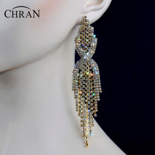 "Chran Luxury Bridal Gold Color Clear Rhinestone Crystal Earings Wedding Party Dangle 6.5"" Chandelier Drop Earings Jewelry LE604"