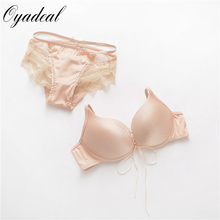 new 2016 bra push up and comfortable Lovely sweet girl underwear set suits women Imitation cowboy material sexy bra set(China)
